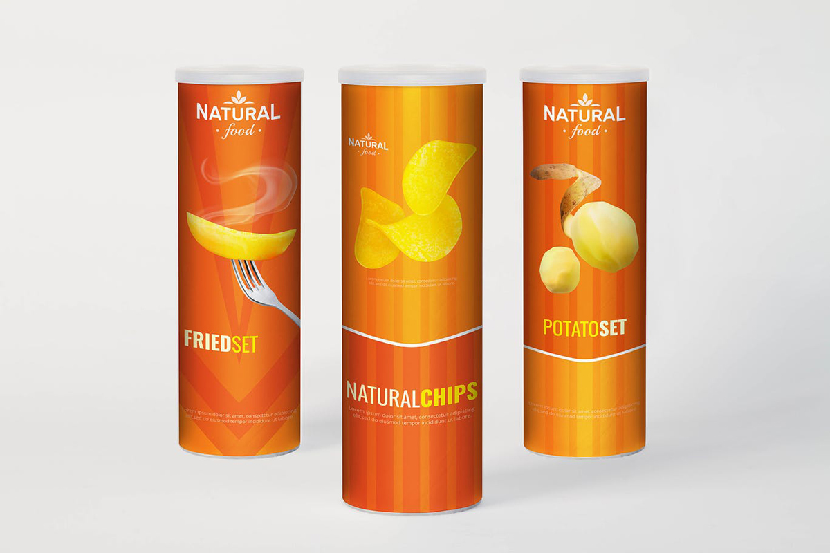 Cylindrical Chips Brand Mock Up.