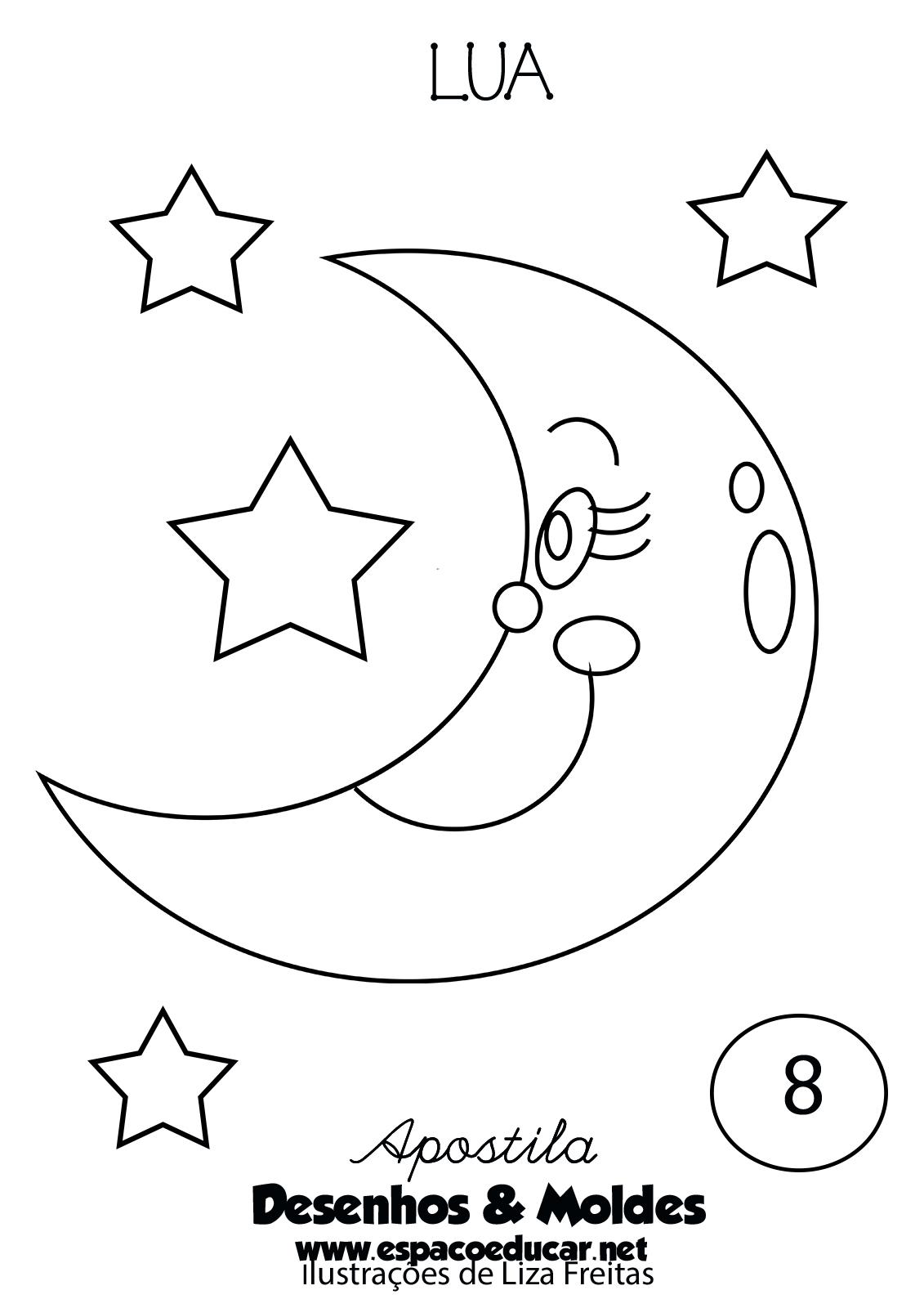 Desenho Ou Molde De Lua Para Colorir Pintar Preparar Atividades