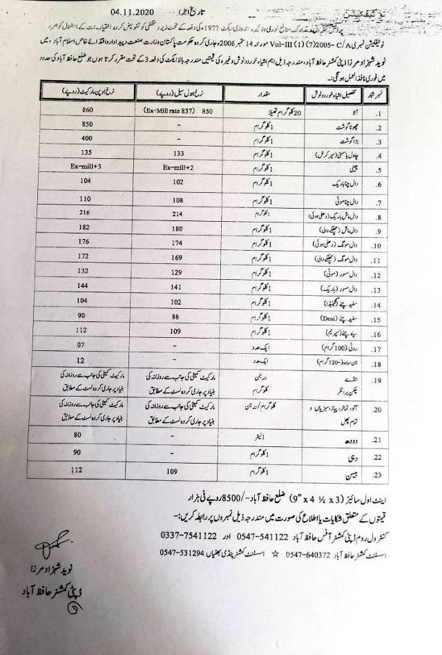 NOTIFICATION REGARDING RATES OF VARIOUS EDIBLES AND BRICKS IN DISTRICT HAFIZABAD