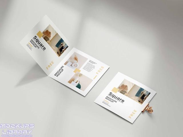 folded square brochure mockup 4