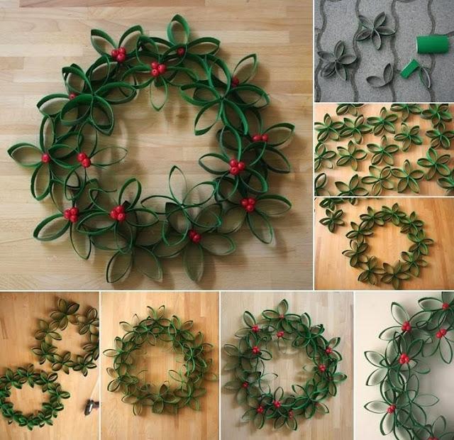 Corona de navidad con cartones reciclados