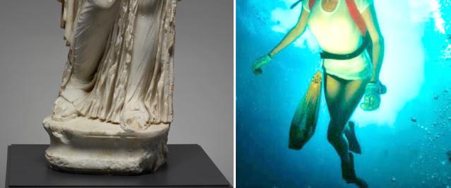 Like Aphrodite Bisset's left leg is forward and her right leg slightly back.