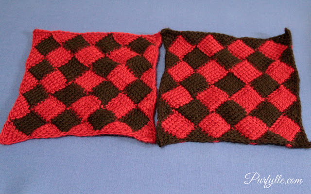Entrelac squares in the same colours. Left: started with Red yarn, Right: started with black yarn