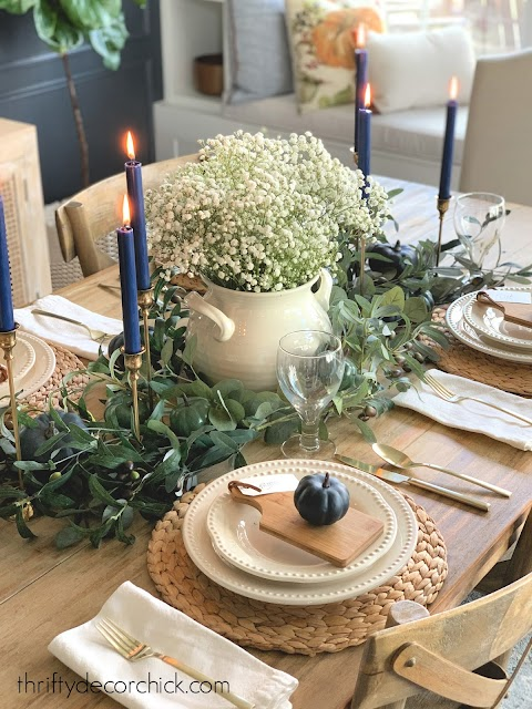 using olive Eucalyptus greenery on table