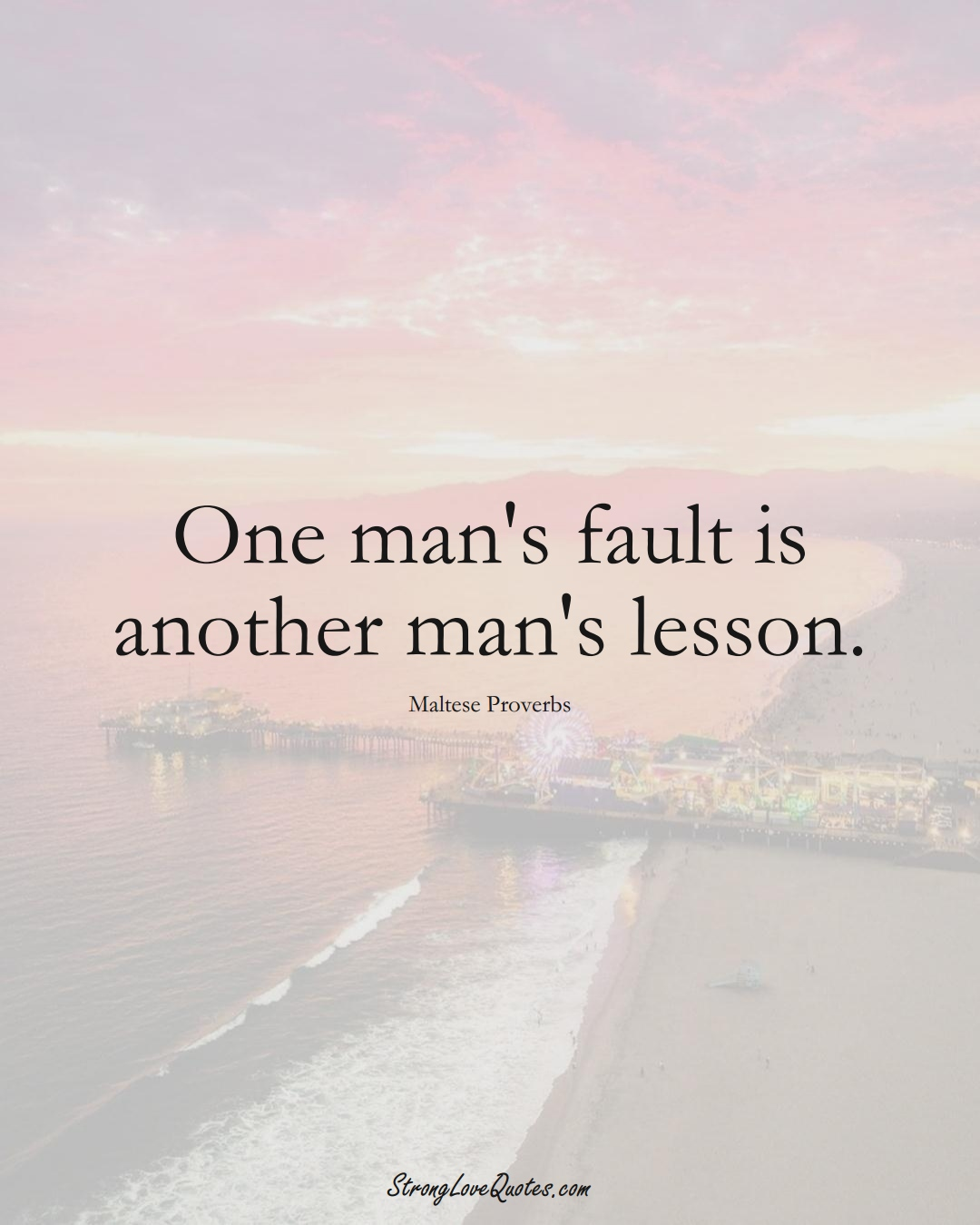 One man's fault is another man's lesson. (Maltese Sayings);  #EuropeanSayings