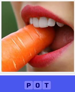 чистая морковь находится во рту человека