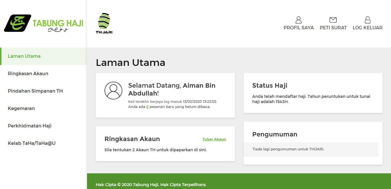 Semakan Daftar Haji 2020 Online Thijari Semak Baki Cetak Penyata