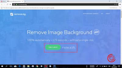 Pilih Select a Photo atau enter a URL untuk memilih atau mengupload gambar/foto yang ingin di hilangkan atau dihapus background nya