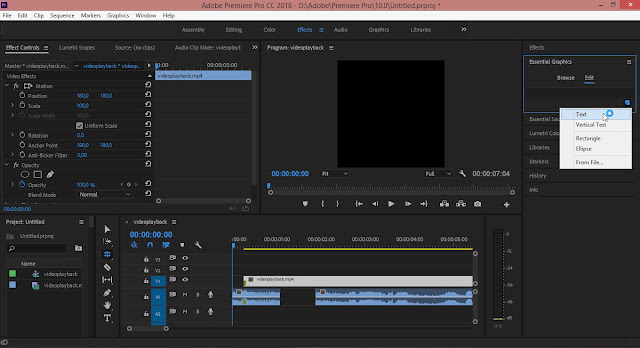 Cara Menambahkan Letak Menu Title Di Adobe Premiere Pro CC 2018 / 2017