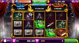 Gaming screen #1 of Elvira Busting Out at Hit It Rich Slots