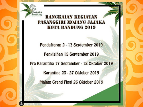 Jadwal Pasanggiri Mojang Jajaka Kota Bandung 2019