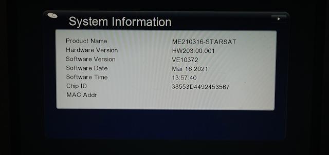 STARSAT GX6605S HW203 SERIES U25 MENU NEW SOFTWARE 16 MARCH 2021