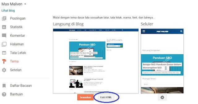 Cara Edit HTML untuk mengganti Menu Template Blogger 2
