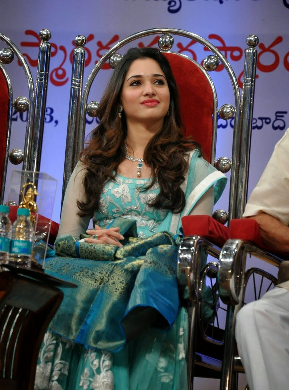 Tamanna Blue Saree: Tamanna In Blue Dress At Sri B Nagi Reddy Memorial Award