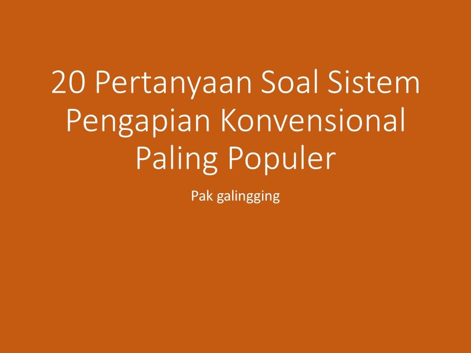 20 Pertanyaan Soal Sistem Pengapian Konvensional Paling Populer