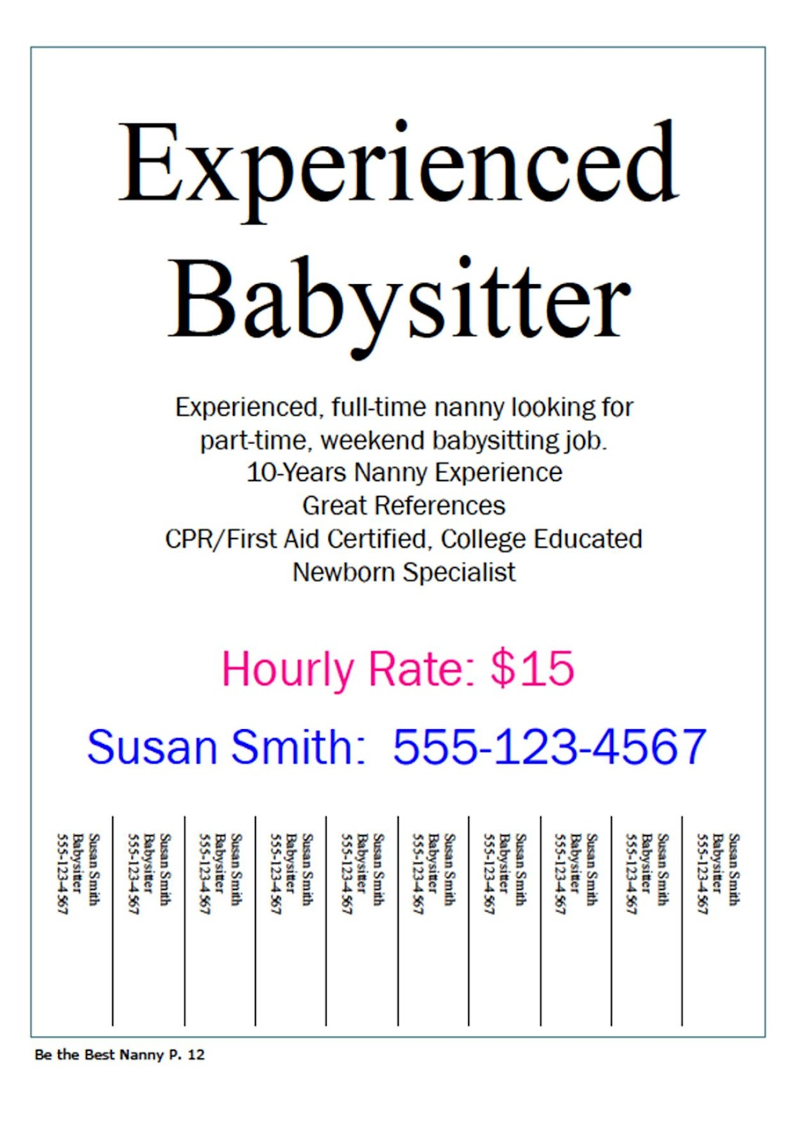 Nanny sample job advertisement