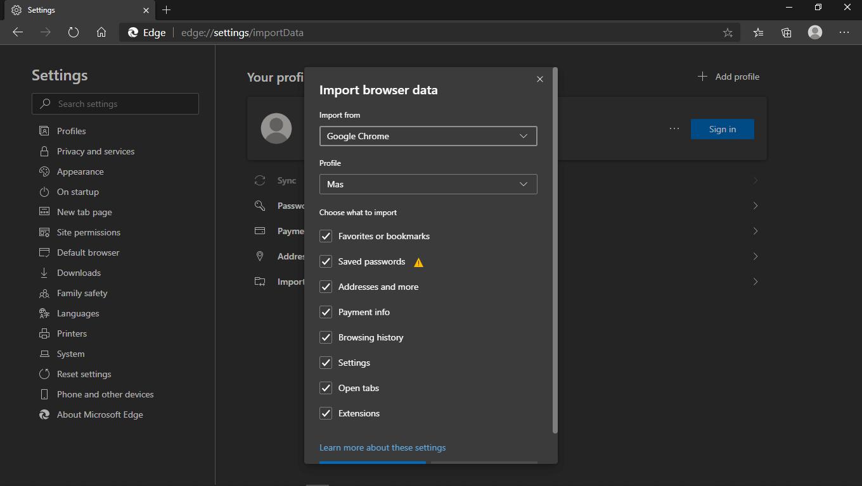Import Data Google Chrome ke Microsoft Edge