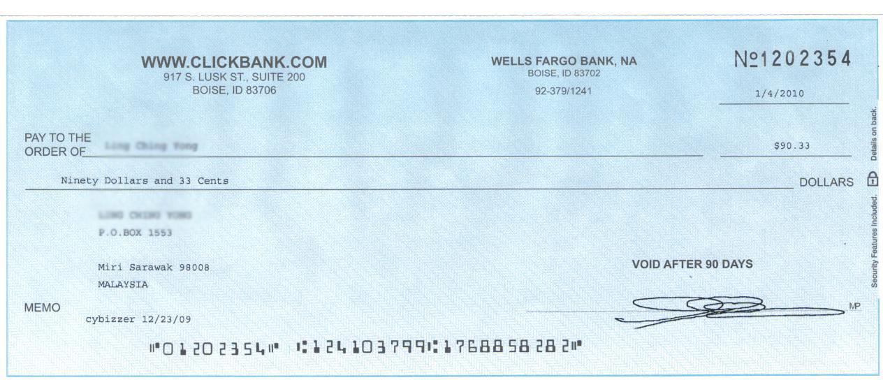 clickbank cheque