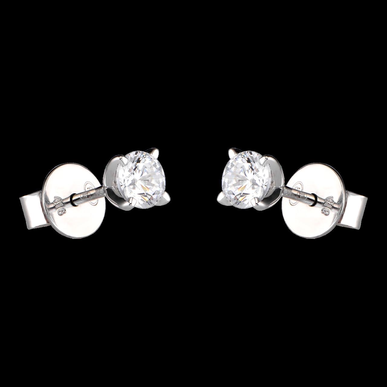 Bông tai Vàng trắng 10K đính đá ECZ Swarovski PNJ XM00W000115