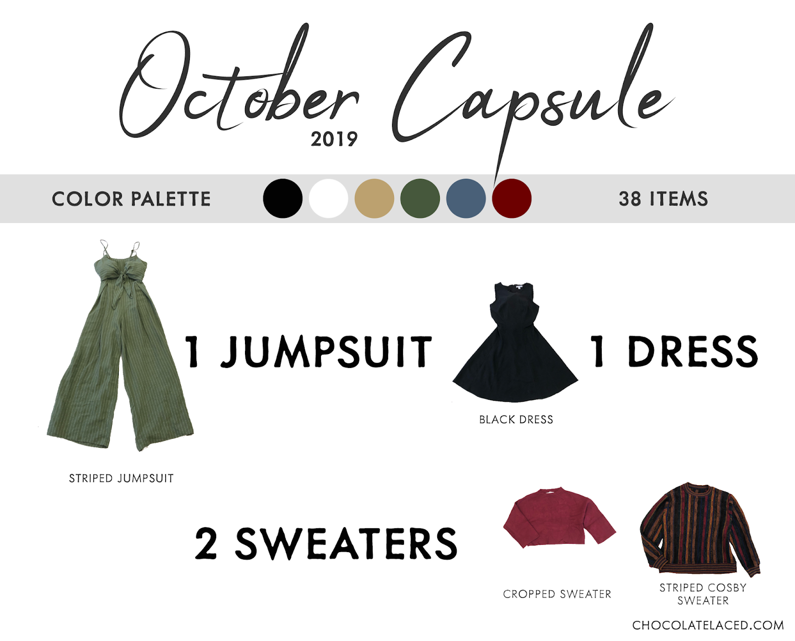October capsule closet dress jumpsuit and sweaters