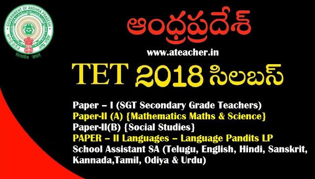 AP TET 2018 Syllabus for Paper – I ,Paper-II (A), Paper-II(B),PAPER – II for SGT,SA,LPs