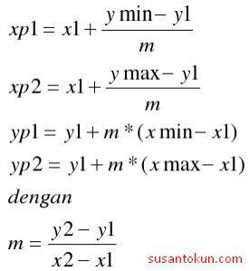 Dengan xp1,xp2,yp1, dan yp2