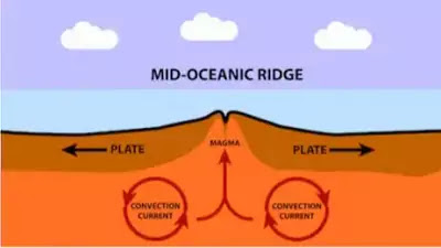 Mid oceanic ridge and associated features