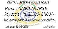 ANM Nursing jobs CRPF