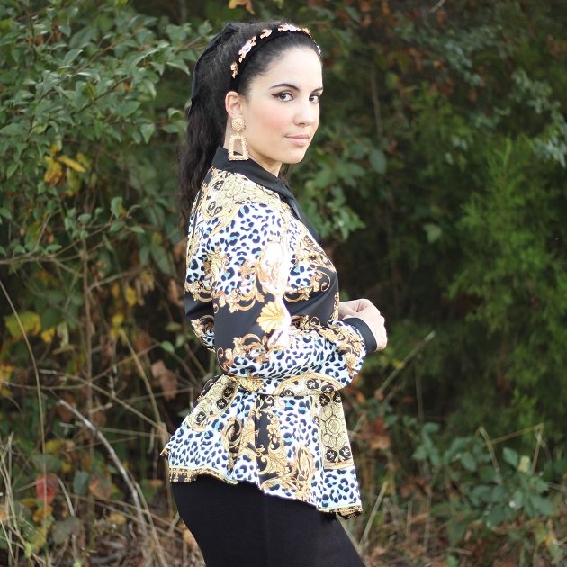 SHEIN Black and Gold Scarf Print Blouse
