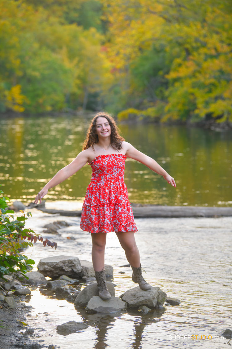 Pioneer High School Girls Senior Portrait in Nature Fall Colors Riverside by SudeepStudio.com Ann Arbor Senior Pictures Photographer