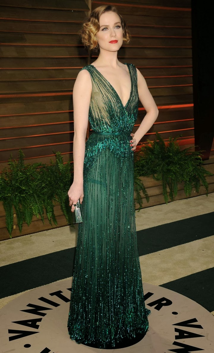 Evan Rachel Wood Shines In An Elie Saab Couture Dress At The 2014 Vanity Fair Oscars Party