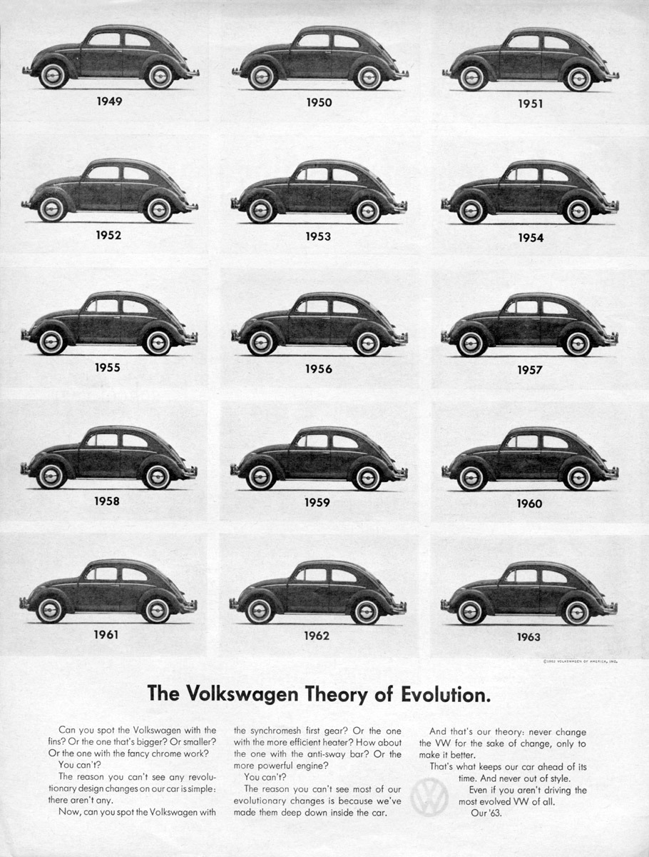 volkswagen theory  evolution   vw beetle changed   years vintage everyday