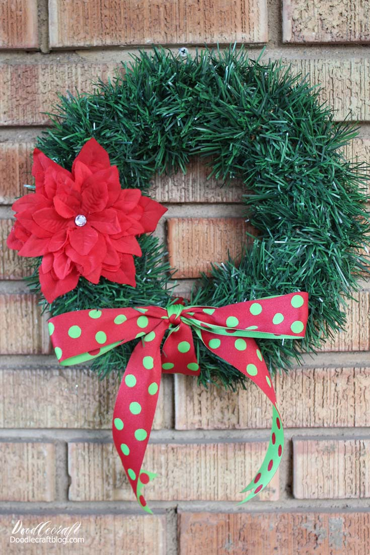 Dollar Tree Garland Wreath With Poinsettia Hair Bow Diy