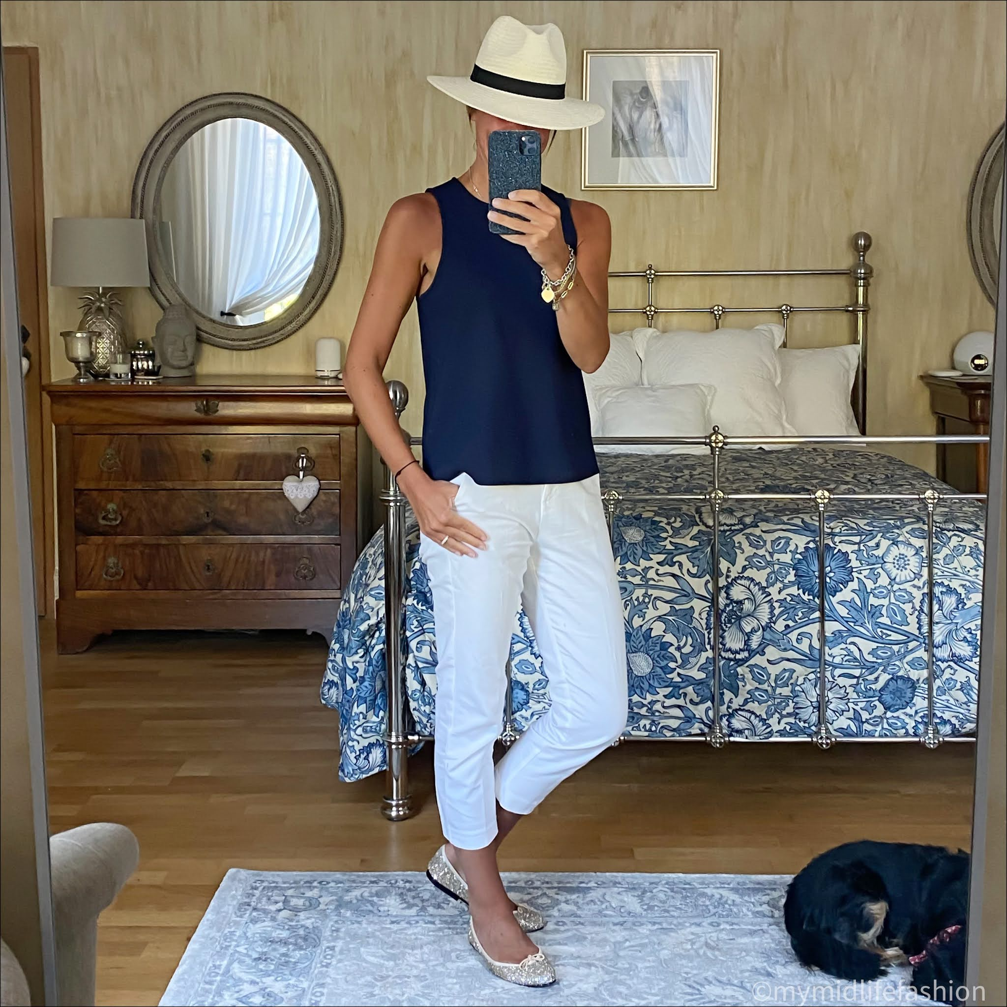 my midlife fashion, zara Panama hat, tibi sleeveless tank top, marks and Spencer capri trousers, French sole Henriette glitter ballet pumps