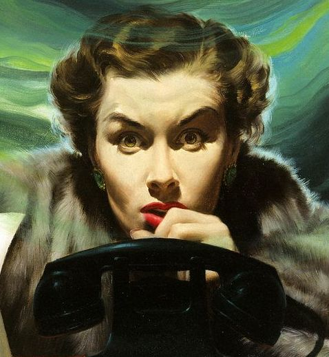 1950 magazine illustration by Robert G. Harris. Woman in terror, waiting for the phone to ring. An Exciting Offer and Other stories of Marketing the American Dream. marchmatron.com