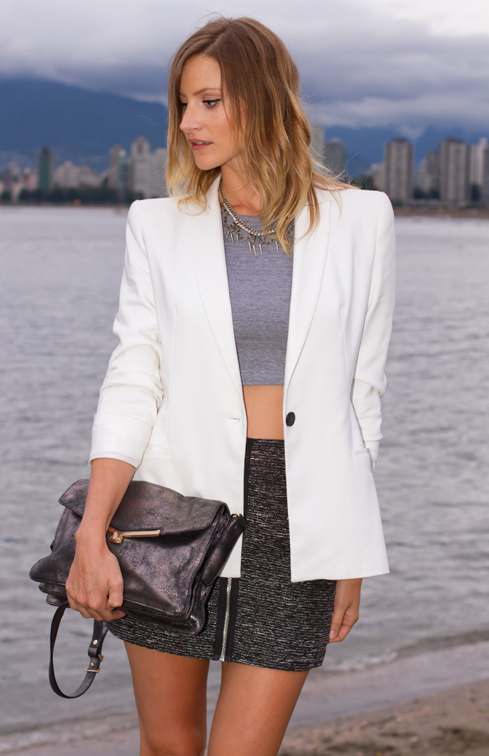 Vancouver Fashion Blogger, Alison Hutchinson, wearing a white zara blazer, grey american apparel crop top, aritzia high-waist grey mini skirt with zipper detail, topshop black ankle boots and botkier silver valentina bag.