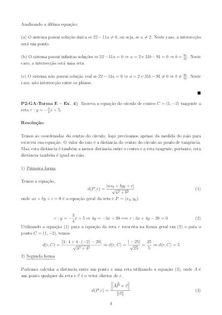 EXERCÍCIOS RESOLVIDOS DE GEOMETRIA ANALÍTICA