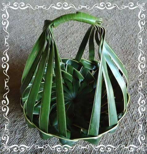 tempat buah dari janur daun kelapa muda