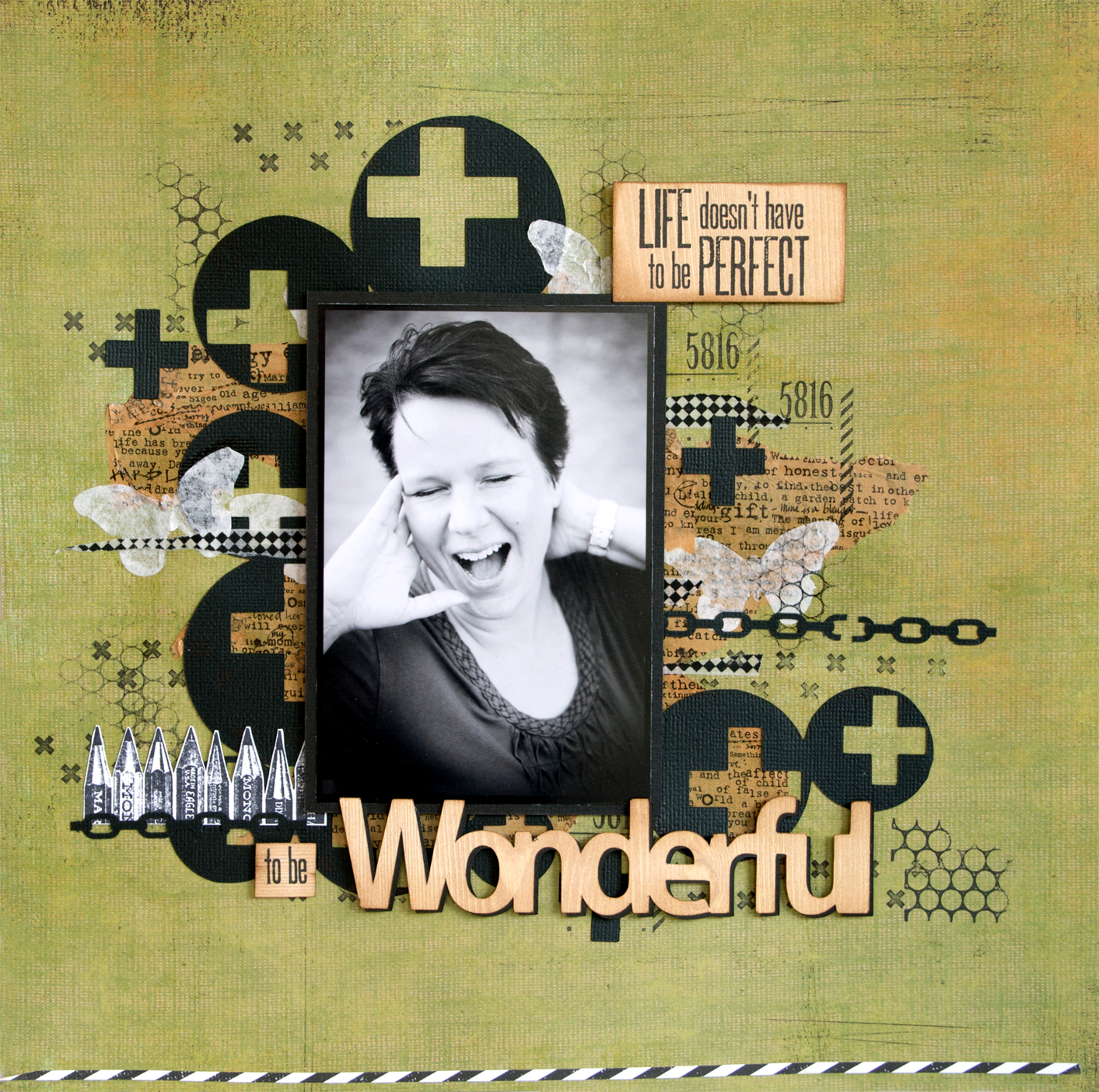 Scrapbooking layout using Creative Scrappers sketch #275: Wonderful