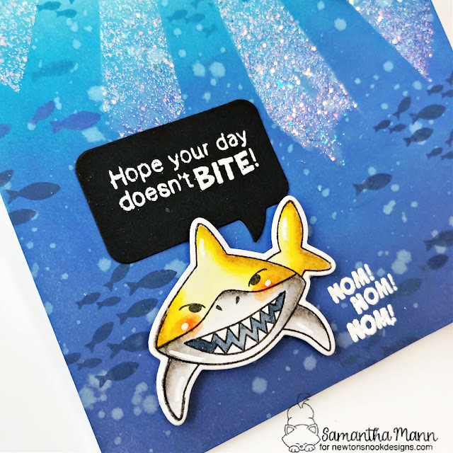 Hope Your Day Doesn't Bite Card by Samantha Mann | Shark Bites Stamp Set, Sunscape Stencil and Speech Bubbles Die Set by Newton's Nook Designs #newtonsno