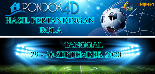 HASIL PERTANDINGAN BOLA 29 – 30 SEPTEMBER 2020