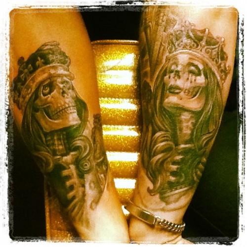 İskelet kral ve kraliçe dövme çeşidi