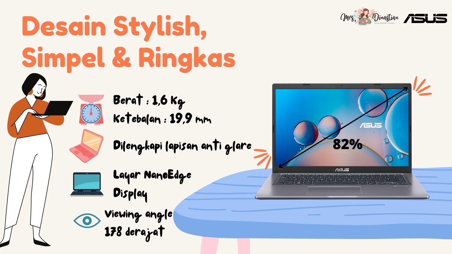Desain Asus Vivobook 14 A416 Ringan dan Ringkas