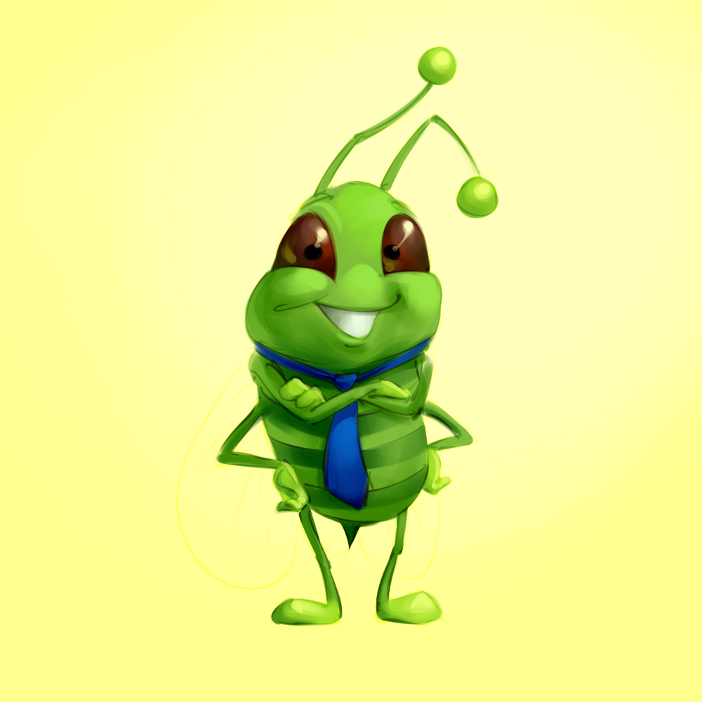 funny bee mascot design concept sketch illustration