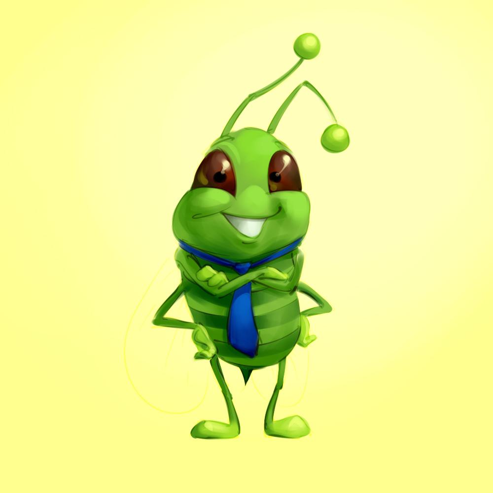 funny bee mascot design concept sketch illustration