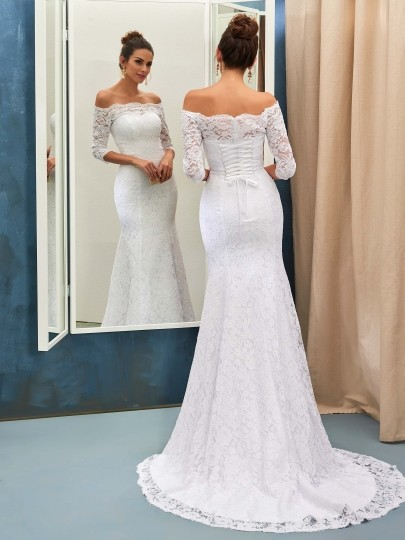 Lace-up Sheath-Column Half-sleeves Off-the-shoulder Sweep-train Simple Wedding Dress
