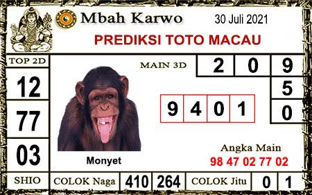Prediksi jitu Mbah Karwo Macau Jumat 30 juli 2021