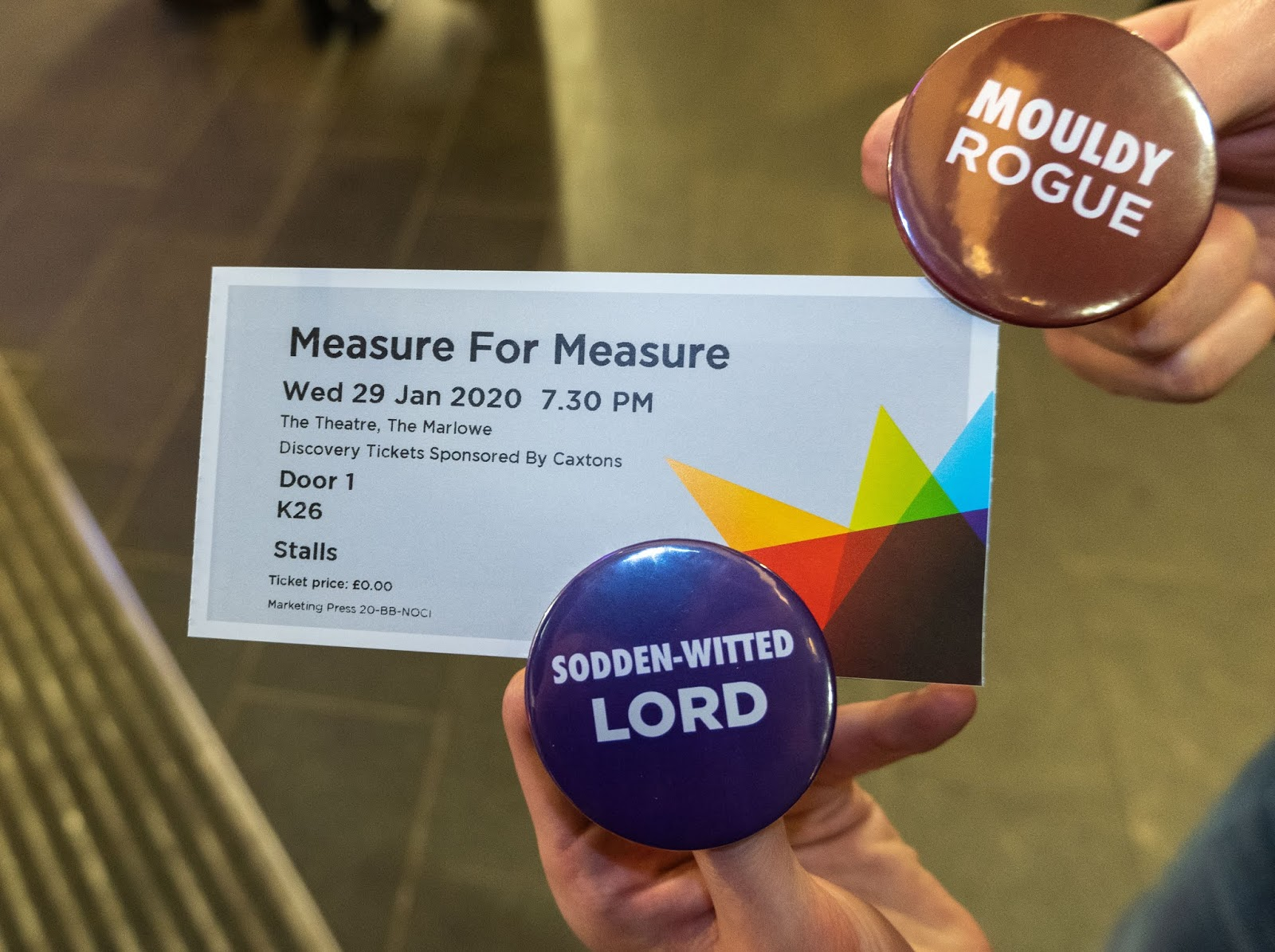 Our Measure For Measure tickets and complimentary Shakespearian insult badges