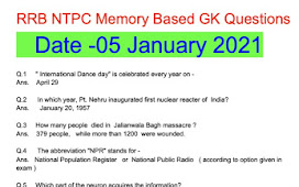 RRB NTPC 05 January 2021 Stage 1 CBT Exam GK Asked Questions Morning 2021