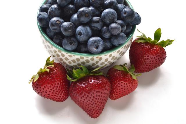 Fresh blueberries and strawberries